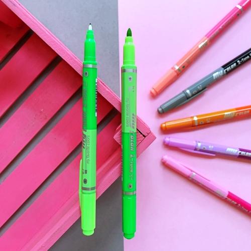 Dong-A My Color 2 2Tone Çift Uçlu Kalem - Açık ve Koyu Yeşil