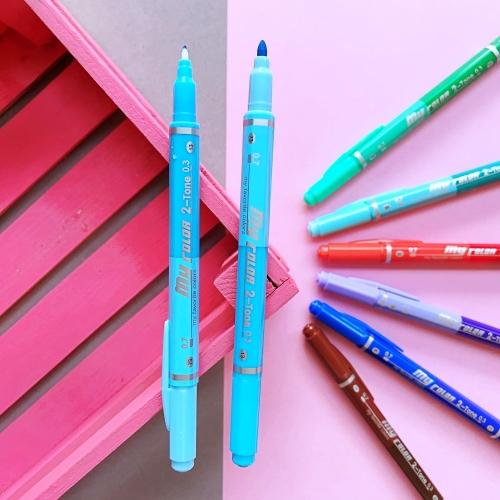 Dong-A My Color 2 2Tone Çift Uçlu Kalem - Gökyüzü Mavi ve Açık Mavi