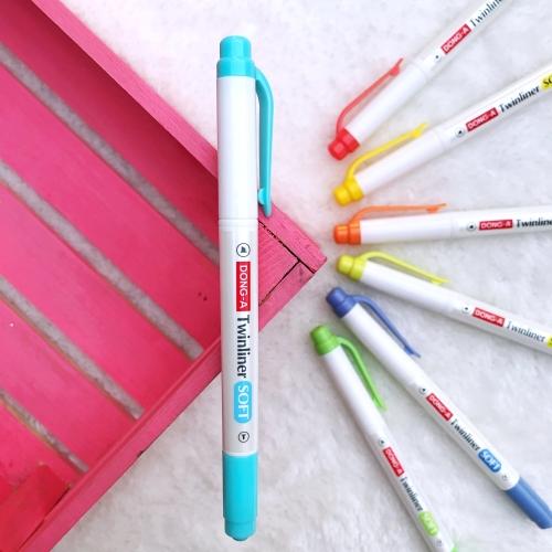 Dong-A Twinliner Soft Fosforlu İşaretleme Kalemi - Gökyüzü Mavisi