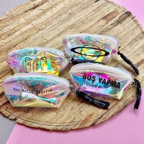 Mottolu Hologram Bozuk Para Cüzdanı