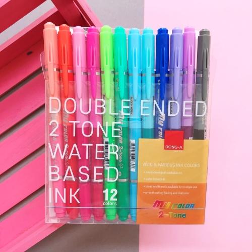 Dong-A My Color 2 2Tone Çift Uçlu Keçeli Kalem 12 Renk