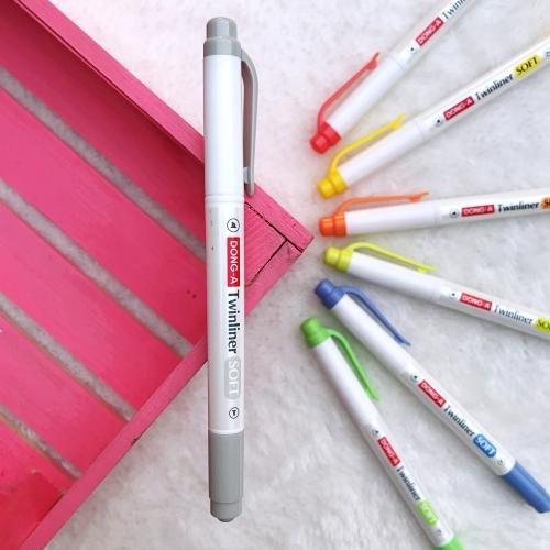 Dong-A Twinliner Soft Fosforlu İşaretleme Kalemi - Açık Gri