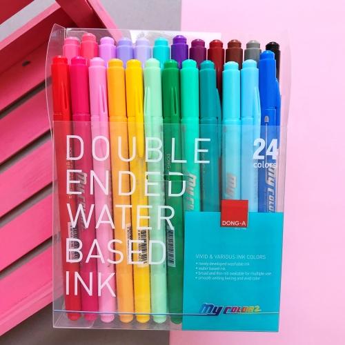 Dong-A My Color 2 2Tone Çift Uçlu Keçeli Kalem 24 Renk