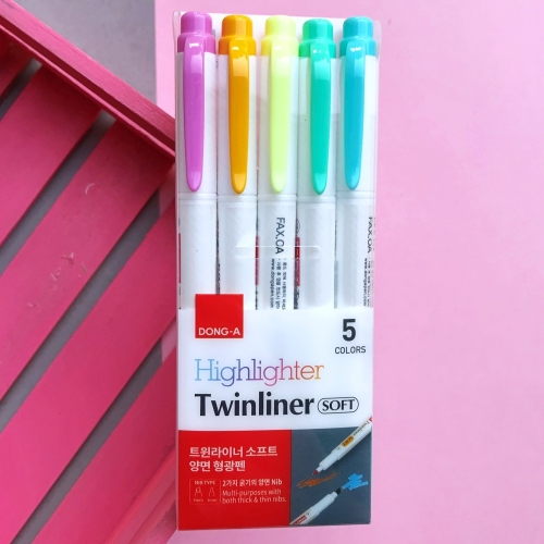 Dong-A Twinliner Soft Fosforlu İşaretleme Kalemi 5 Renk
