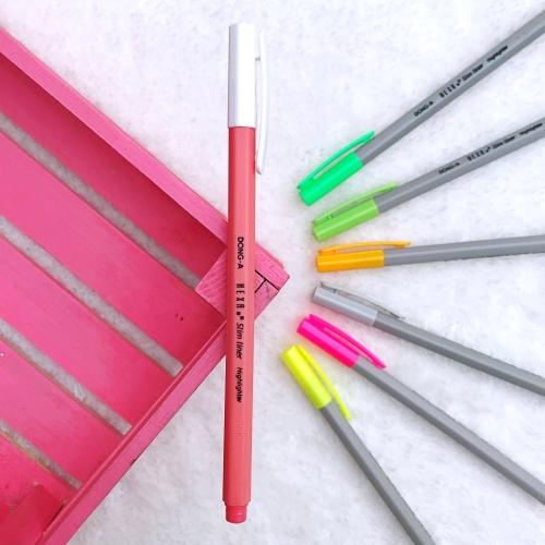 Dong-A Hexa Slimliner Fosforlu İşaretleme Kalemi - Kırmızı