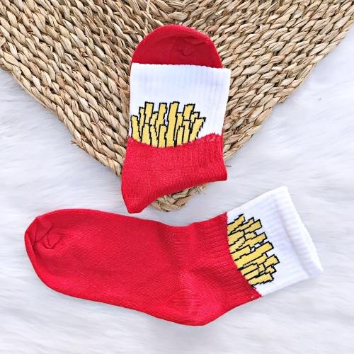 Patates Kızartması Desenli Kırmızı Çorap