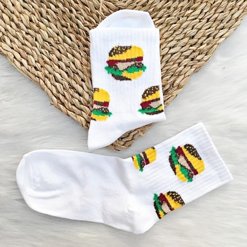 Hamburger Desenli Beyaz Çorap