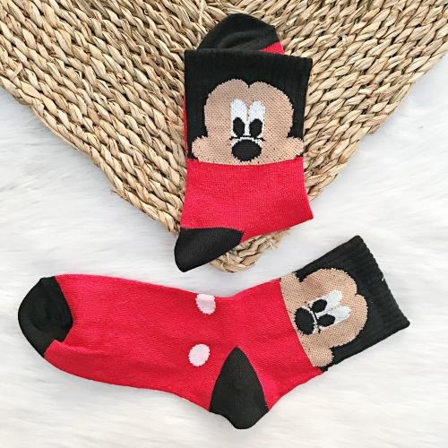 Mickey Mouse Desenli Benekli Çorap