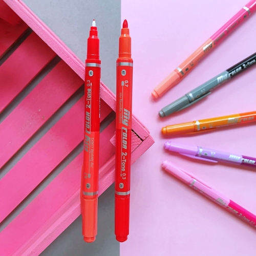 Dong-A My Color 2 2Tone Çift Uçlu Kalem - Kiremit ve Kırmızı