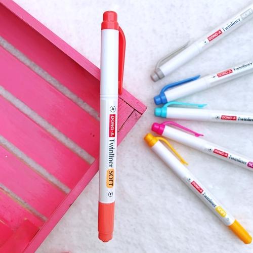 Dong-A Twinliner Soft Fosforlu İşaretleme Kalemi - Kiremit Vermilion
