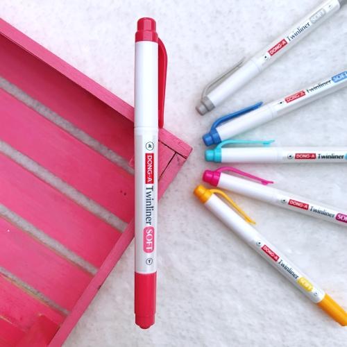 Dong-A Twinliner Soft Fosforlu İşaretleme Kalemi - Kırmızı