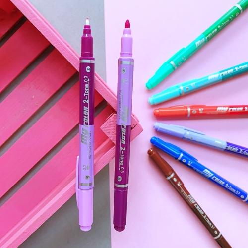 Dong-A My Color 2 2Tone Çift Uçlu Kalem - Lila ve Mor