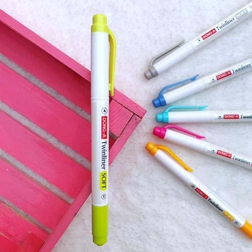Dong-A Twinliner Soft Fosforlu İşaretleme Kalemi - Lime Yeşil