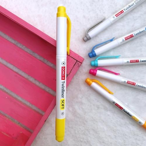 Dong-A Twinliner Soft Fosforlu İşaretleme Kalemi - Limon Sarısı
