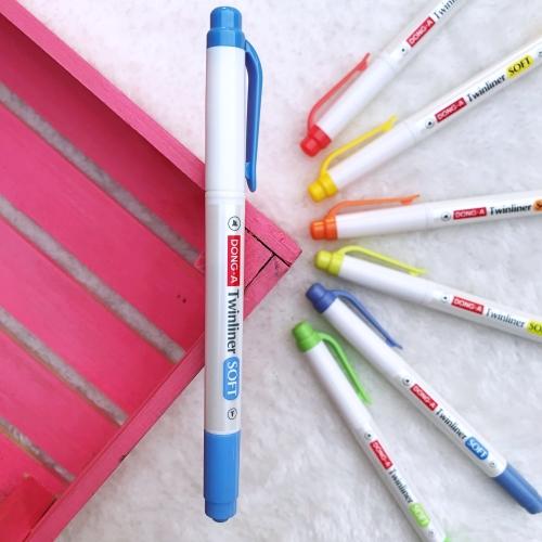 Dong-A Twinliner Soft Fosforlu İşaretleme Kalemi - Mavi