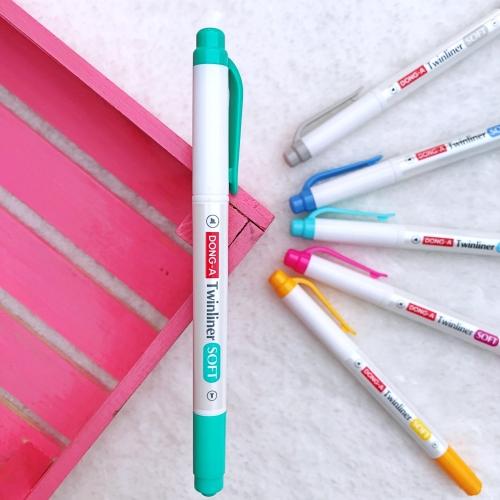 Dong-A Twinliner Soft Fosforlu İşaretleme Kalemi - Mavi Yeşil