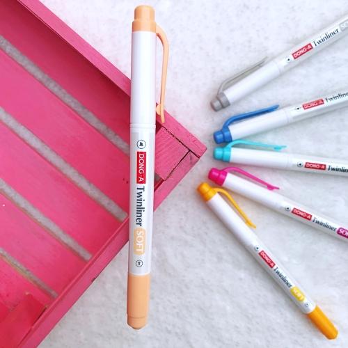 Dong-A Twinliner Soft Fosforlu İşaretleme Kalemi - Portakal