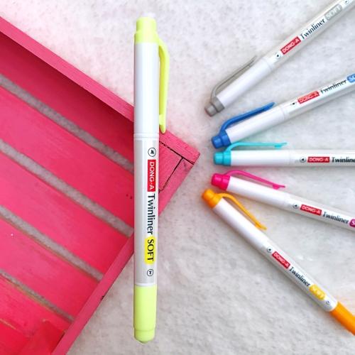 Dong-A Twinliner Soft Fosforlu İşaretleme Kalemi - Sarı