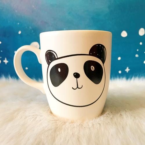 Panda Baskılı Siyah Kupa
