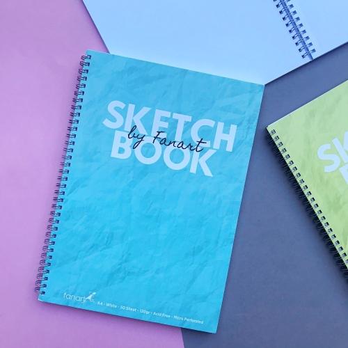 Fanart Academy Sketch Book A4 - Beyaz Yapraklı 120 Gr Eskiz Defteri - Turkuaz
