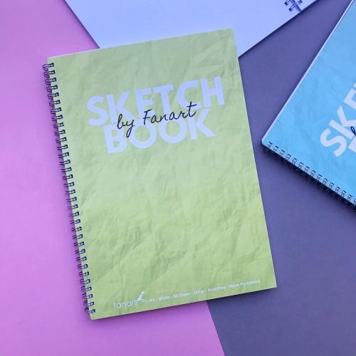 Fanart Academy Sketch Book A4 - Beyaz Yapraklı 120 Gr Eskiz Defteri - Sarı