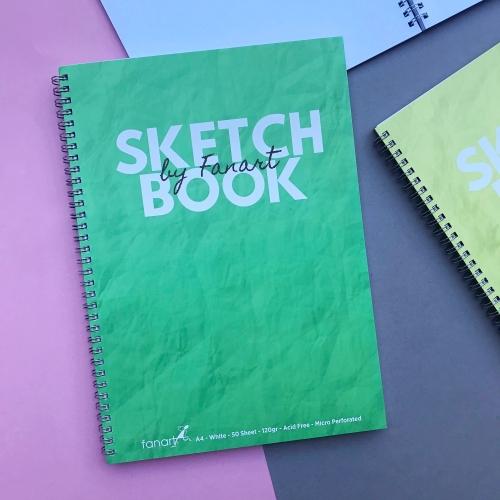 Fanart Academy Sketch Book A4 - Beyaz Yapraklı 120 Gr Eskiz Defteri - Yeşil