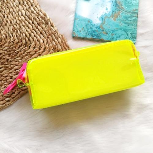 Fosforlu Zipper Pembe-Sarı Kalem Kutusu