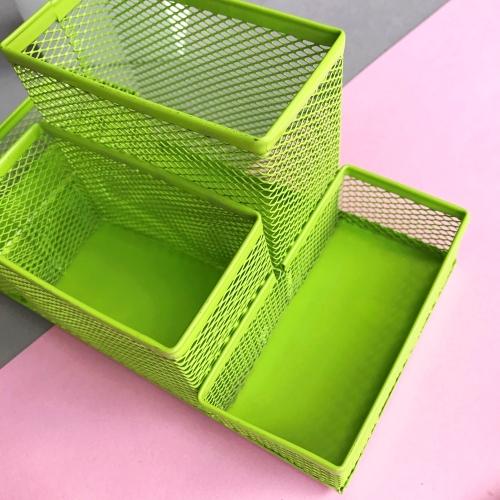 4 Bölmeli Metal Masaüstü Organizer - Yeşil