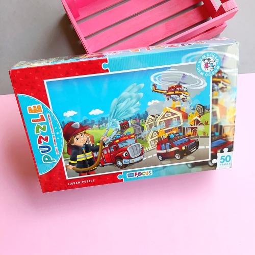 Focus Games İtfaiye Çalışması Kutulu Puzzle - 50 Parça