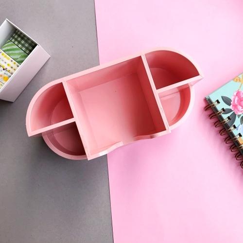 Pastel Renk Notluk Bölmeli Masaüstü Organizer - Pembe