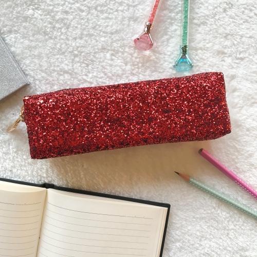 Swarovski Taşlı Tek Gözlü Kalem Kutu - Kırmızı