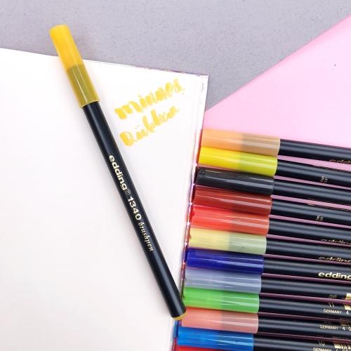 Edding 1340 Brush Pen Fırça Uçlu Keçeli Kalem - 5 Sarı