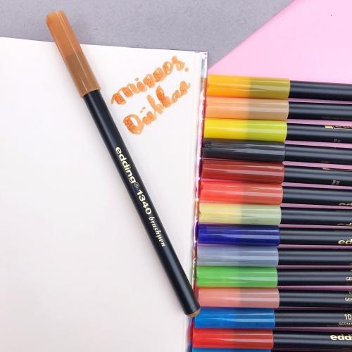Edding 1340 Brush Pen Fırça Uçlu Keçeli Kalem - 13 Koyu Sarı