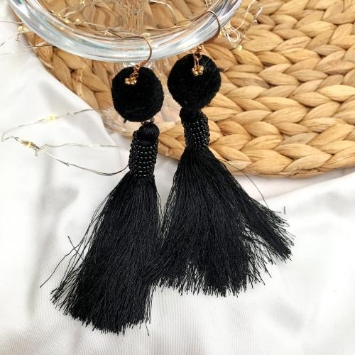 Püsküllü ve Ponponlu Küpe - Siyah