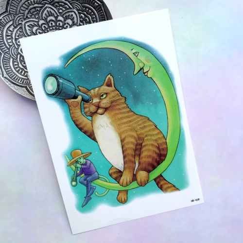 Gözlemci Kedi Büyük Dövme