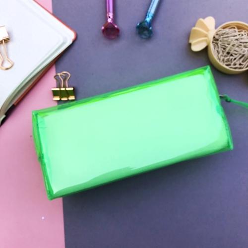 Jelly Şeffaf XL Kalem Çantası - Yeşil