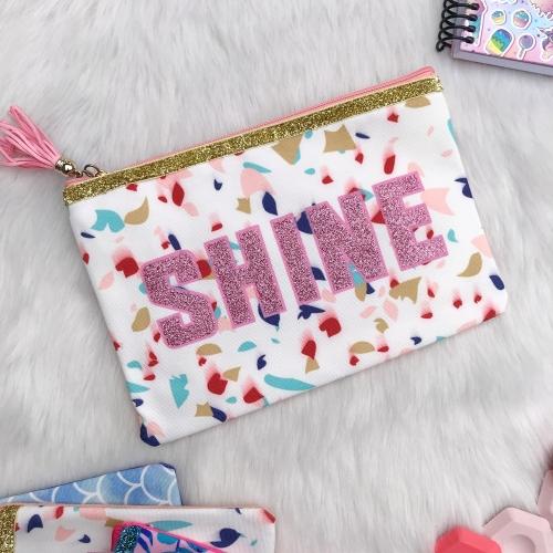 Shine Simli Kalem ve Makyaj Çantası