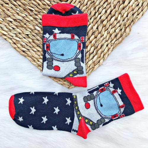 Astronot Lacivert - Kırmızı Çorap