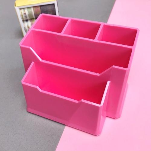 Pastel Renk 5 Gözlü Masaüstü Organizer - Pembe