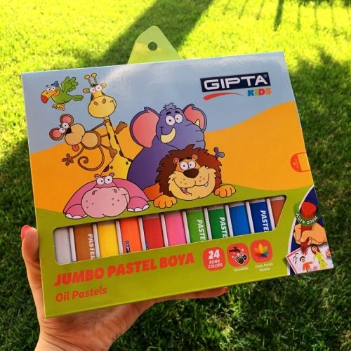 Jumbo Üçgen Pastel Boya Gıpta Kids - 24 Renk