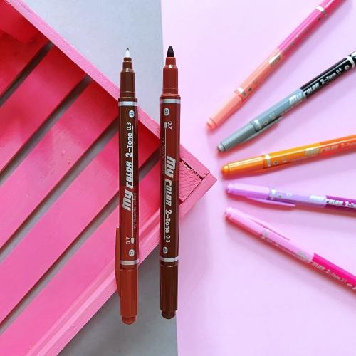 Dong-A My Color 2 2Tone Çift Uçlu Kalem - Açık ve Koyu Kahverengi
