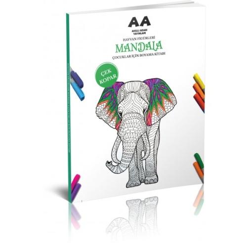 Hayvan Figürleri Çocuklar İçin Mandala Boyama Kitabı Çek Kopar