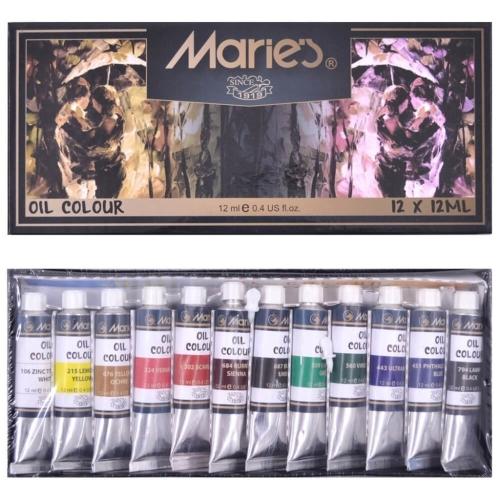 Maries 12 Renk Yağlı Boya - 12 ml
