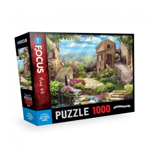 Old Houses and Flowers 1000 Parça Puzzle - Focus