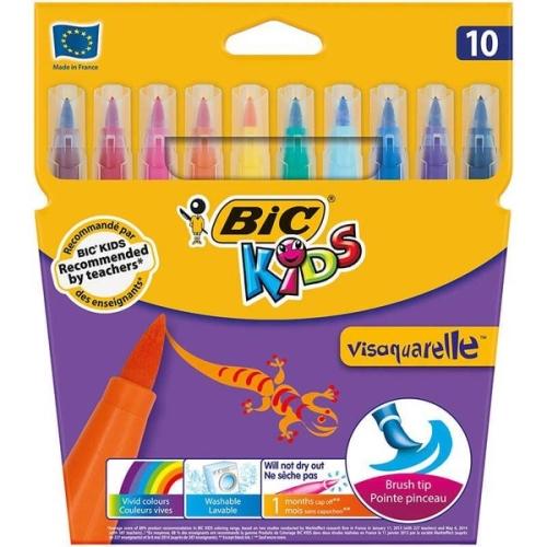 Bic Kids Visaquarelle 10 Renk Fırça Uçlu Keçeli Boya Kalemi