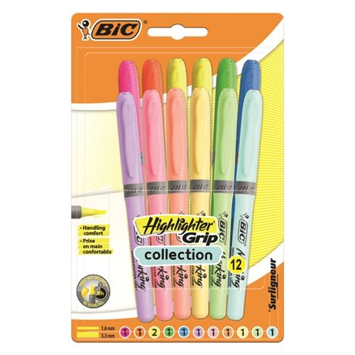 Bic Marking Highlighter Grip Pastel ve Neon Karışık Paket 12'li