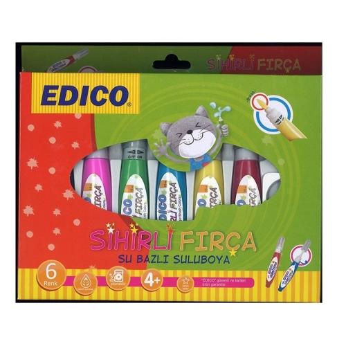 Edico Sihirli Fırça 6 Renk Su Bazlı Suluboya Seti