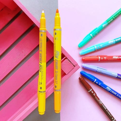 Dong-A My Color 2 2Tone Çift Uçlu Kalem - Sarı ve Turuncu