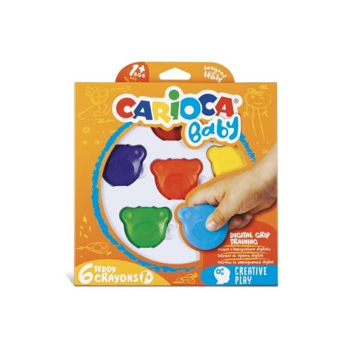 Carioca Teddy Şekilli Elleri Kirletmeyen Mum Boya 6'lı