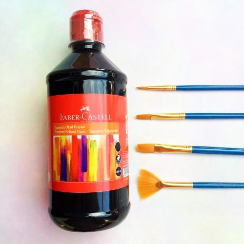 Faber Castell Tempera Okul Boyası 500 ML - Siyah